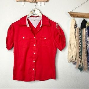 Tommy Hilfiger Red Modern Button Down Top Size 10